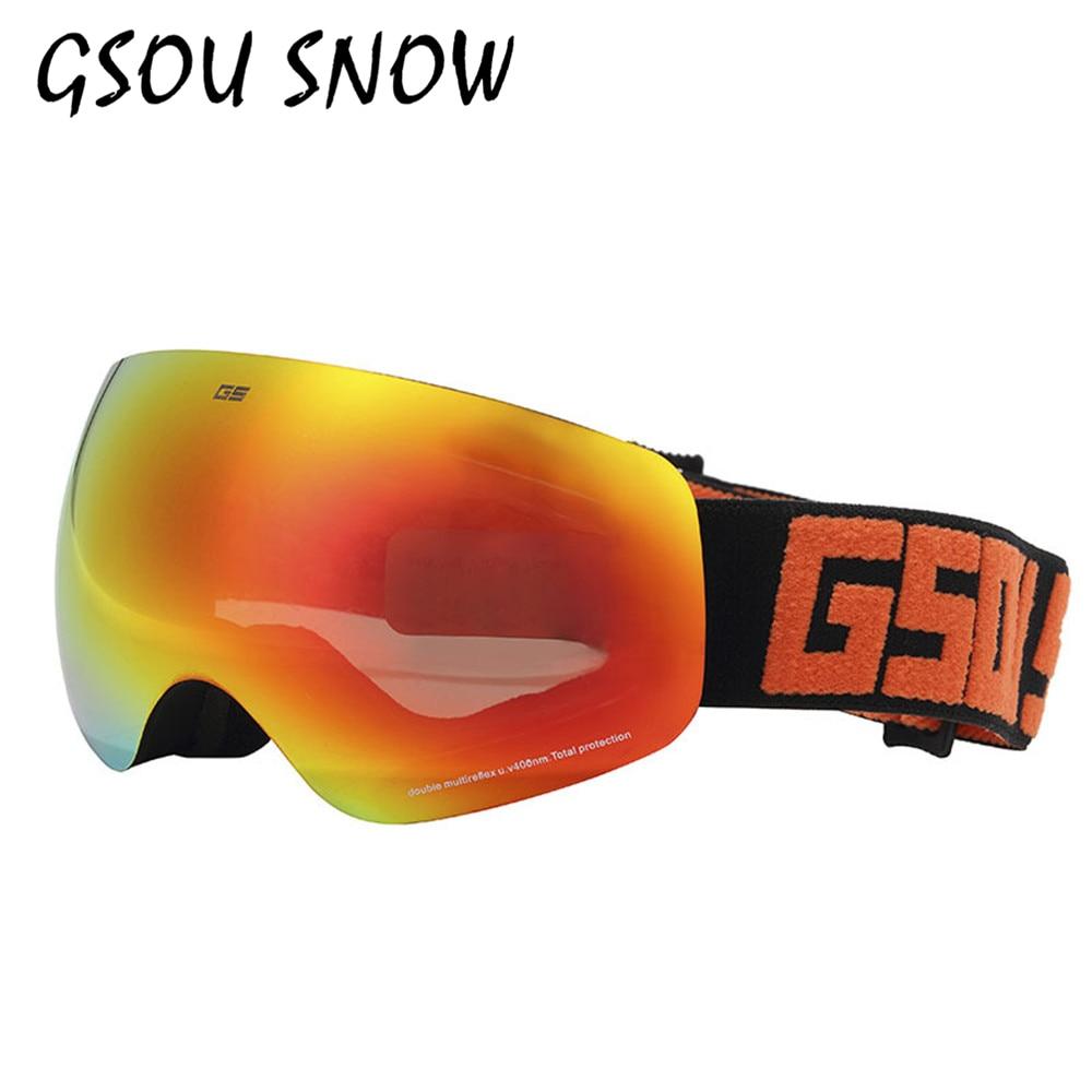 Prix pour Gsou Neige Marque Hiver Hommes Femmes Ski Lunettes Anti-brouillard Snowboard Protection Unisexe Professionnel Skate Ski Snowboard Lunettes