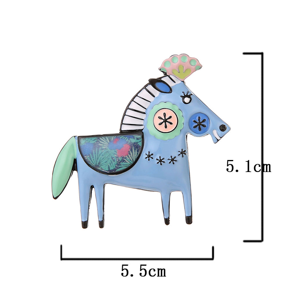 Cute Animal Horse Brooch Woman Blue Enamel Pin Kpop Accessories Jewelry Metal Alloy Hijab Pins Brooches for Men Women Clothes in Brooches from Jewelry Accessories