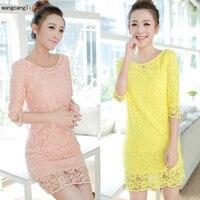 2018 NEUE Koreanische version größe Dünne spitze rosa kleid sommer langes kleid beutelhüfte weißes kleid kleid grundiert S-XXL wangcangli