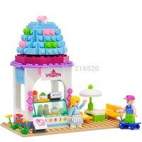 Rosa Serie di Sogno gelato house Building Blocks 205 pz Set Modello Giocattoli Educativi Per I Bambini