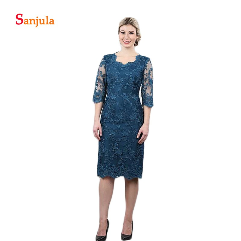 Knee Length Short Mother Of The Bride Dresses Half Sleeve Lace Dinner Gowns For Women Formal Party Dress With Beaded D1045