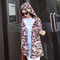 Donna Women Pink Camouflage Long Trench Coat Draw String Hooded Military Style Casual Windbreaker Letters Female Trench W287Z