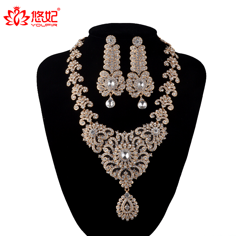 India Style Wedding Jewelry Set Crystal Rhinestone necklace earrings set Bridal Party Jewelry Accessories golden plated Earrings luxury rhinestone bridal necklace earrings set crystal ab color aurora color evening party jewelry set drop water flower style