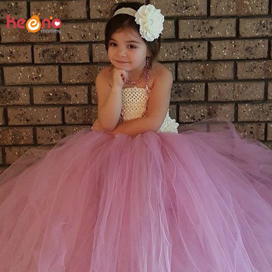 Keenomommy Vintage Dusty Rose Ivory Flower Girl Tutu Dress Baby Wedding Dress with Lace Headband Photo Birthday Costume TS109