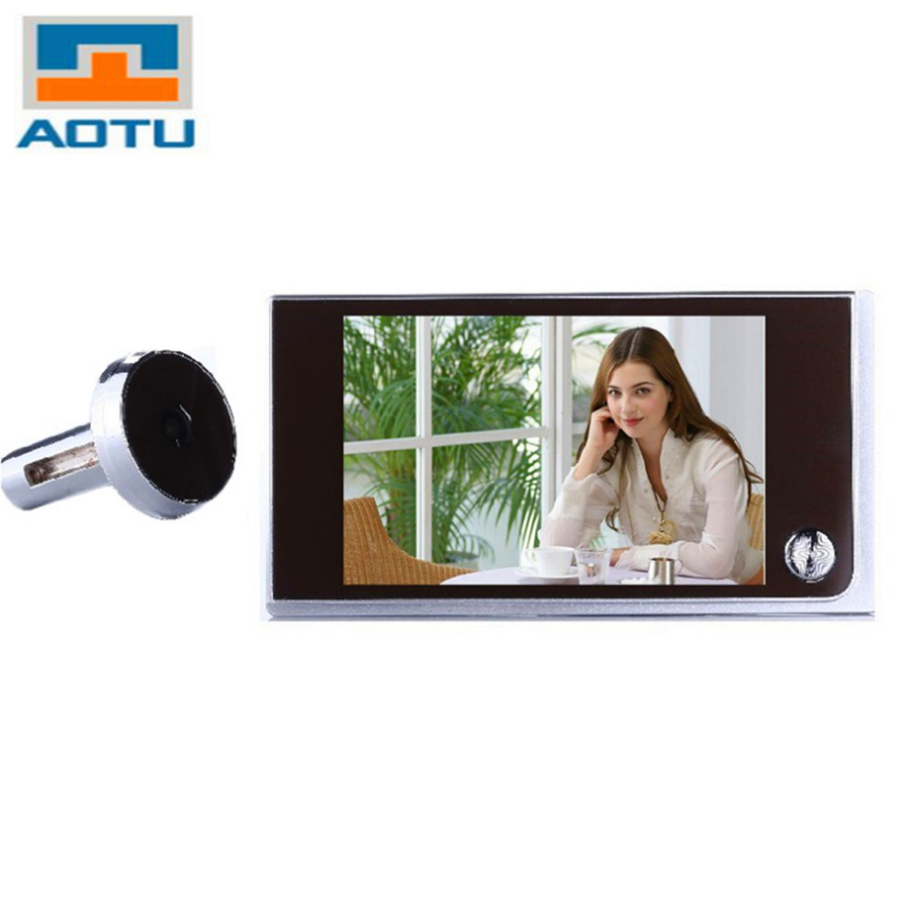 AOTU Multifunction Home Security 3 5inch LCD Color Digital TFT Memory Door Peephole Viewer Doorbell Security