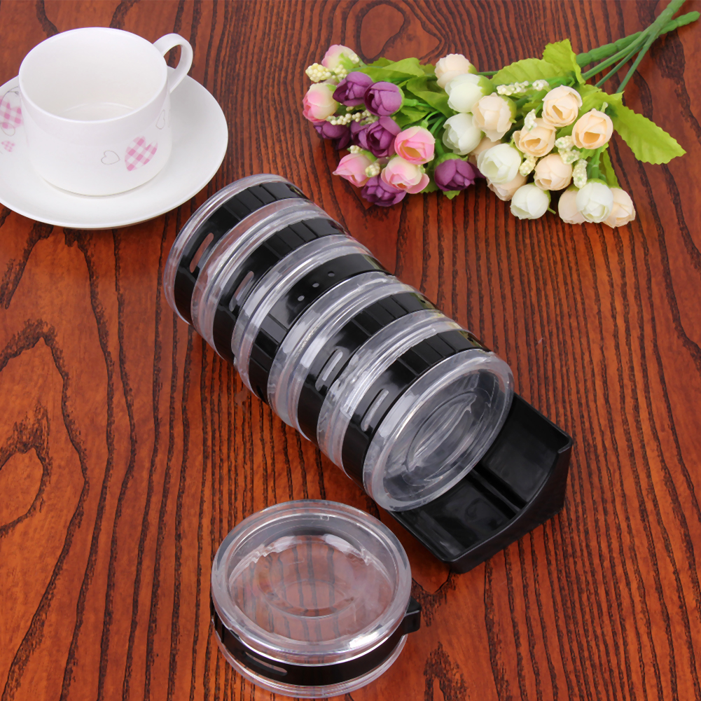 6Pcs Transparent Seasoning Cans Plastic Rotating Spice Rack Condiment Bottles Pepper Shaker Container Kitchen Cooking Tools