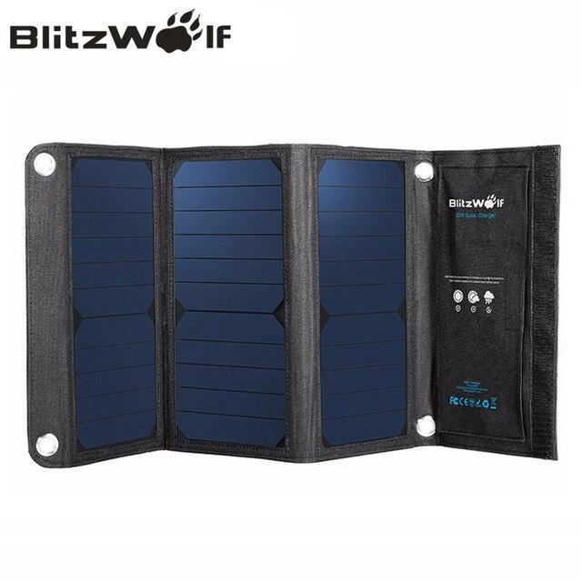 Blitzwolf Портативный Солнечный Запасные Аккумуляторы для телефонов 20 Вт Dual USB Мощность банк Зарядное устройство Панели солнечные мобильного телефона Зарядное устройство Универсальный для iPhone 7 6S 6