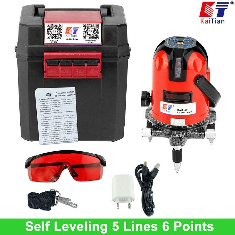 KaiTian Laser Level 360 Rotante Auto Funzione di Inclinazione Lleveling All'aperto UE 635nm Corss Linea Lazer 5 Linee Laser Livella strumenti