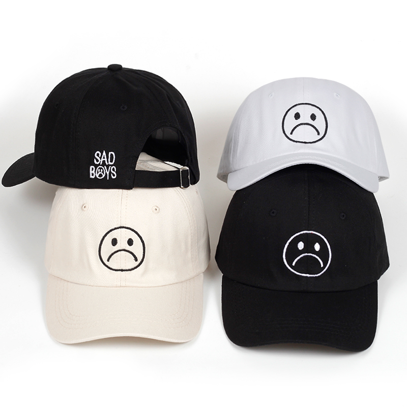 Sad Boys dad hat Adjustable cotton Harajuku Skateboard Hats crying face   Baseball     cap   cotton Black Hats Curve golf   Caps   wholesale