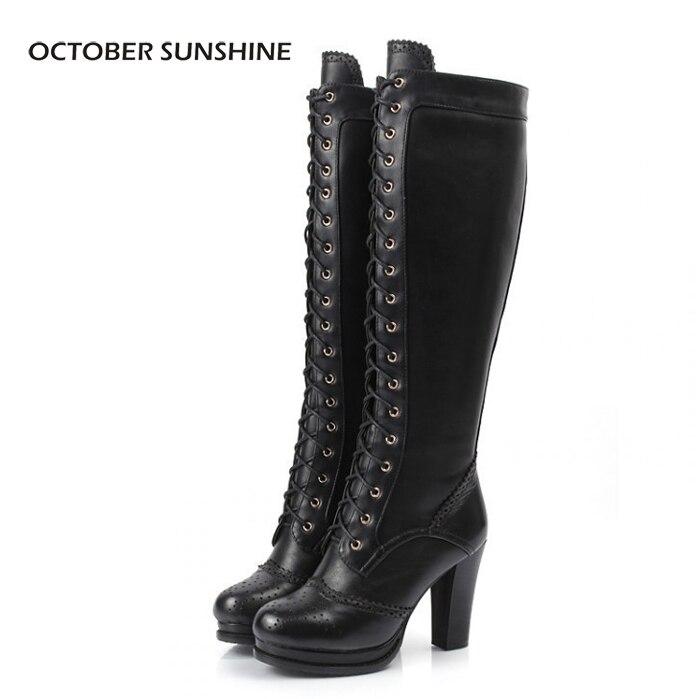October Sunshine Full Grain Leather Knee Length Boots