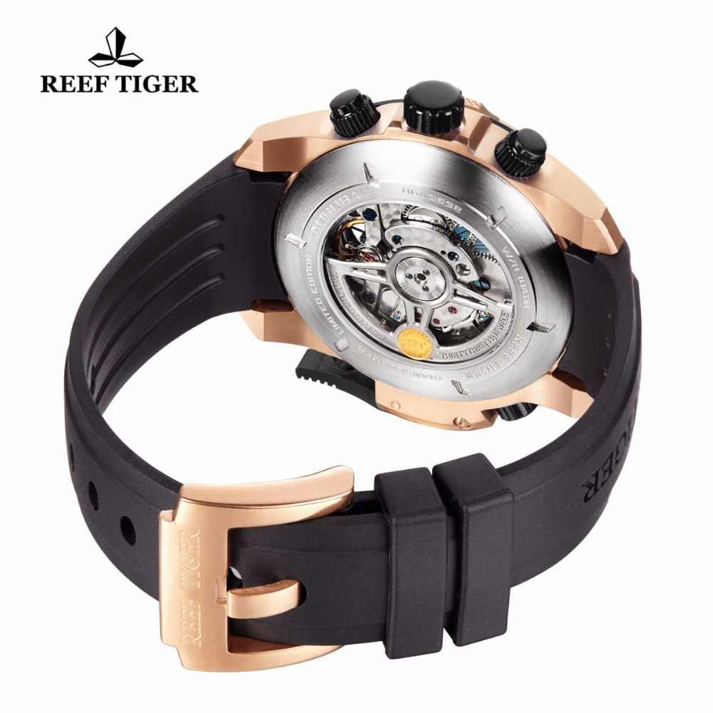 2019 מותג שונית טייגר אוטומטי מכאני גברים שעונים 50M Waterproof בהיר Tourbillon גומי לוח שנה שעון relogio masculino