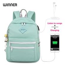 WINNER 2018 النسخة الكورية الجديدة USB على ظهره النساء مكافحة سرقة حقيبة السفر المدرسية الصغيرة الطازجة محمول الحقائب المدرسية الرجال Zaino