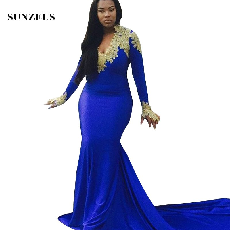 Us 1161 10 Offvestidos Gala Azul Mermaid Long Sleeves Royal Blue Prom Dress With Gold Appliques V Neck Sweep Train Plus Size Party Gowns Women In