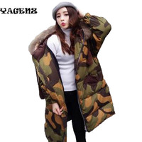 Fashion really fox fur down fur Ms hooded warm thick Camouflage women's winter hoody 2017long Paragraph Camouflage Clothing B16