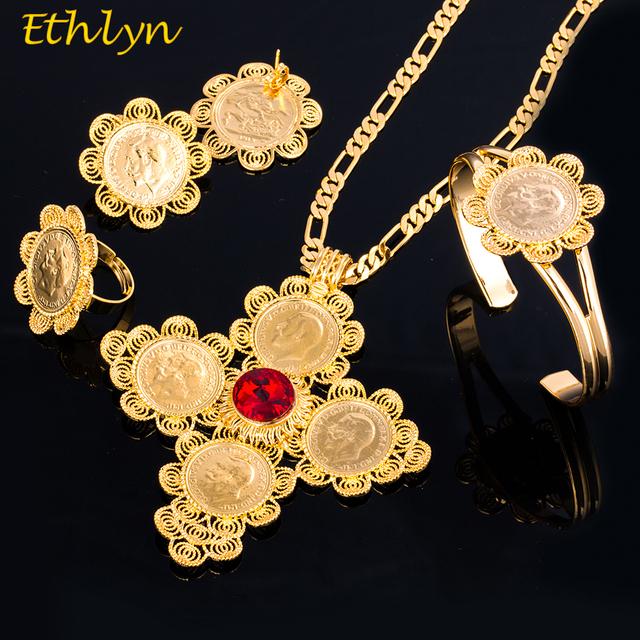 Ethlyn 2017 Monedas Cruzadas Las Mujeres Etíopes Nupcial Conjuntos de Joyas de Oro Africano Sistemas de la Joyería de Circón Romántica S066