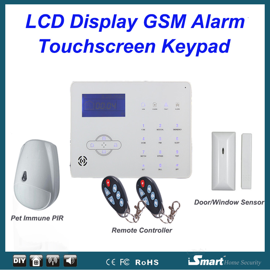 433MHZ Touchkeypad LCD Display Wired and Wireless GSM PSTN Alarme System with Pet Friendly PIR Sensor, Free Shipping wireless pager system 433 92mhz wireless restaurant table buzzer with monitor and watch receiver 3 display 42 call button
