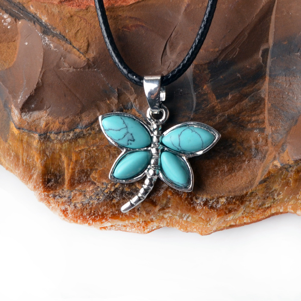 Dragonfly Opalite Gemstone Pendant Hand Carved Stone Necklace