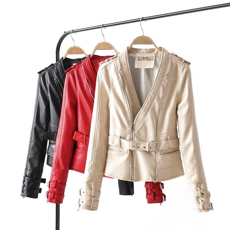 Slim Women PU Coat Elegant Faux   Leather   Autumn Winter Female Mandarun Collar Jacket