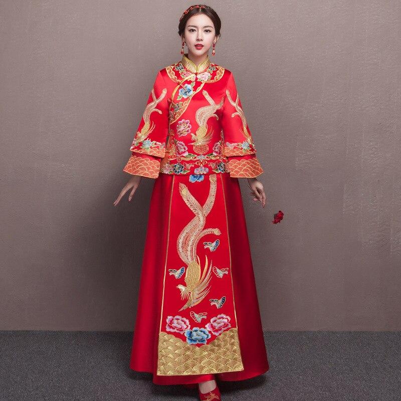 Красной вышивкой дракон Феникс Китайский Стиль свадебное платье Ципао с длинным рукавом Cheongsam Винтаж восточные платья
