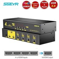 4 Port HDMI KVM Switch Switcher 4x1 SGEYR USB 2.0 HDMI KVM Switch Keyboard Mouse K/M Switch control 4 computer support 1080P 3D