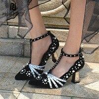 Prova Perfetto Для женщин замши на высоком каблуке Острый носок заклепками Для женщин Туфли лодочки с Т образным ремешком Гладиатор шпильках туфл