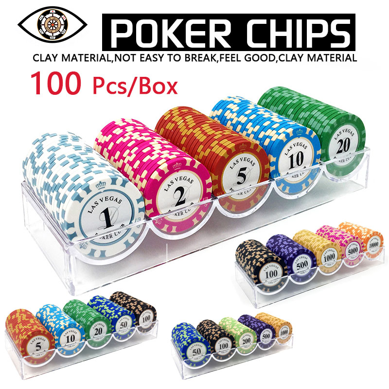 100 Pieces of Chips with poker Chip Box 14g Clay Chips Set Metal Texas Hold'em Poker Chips Casino Coins Poker Club Accessories