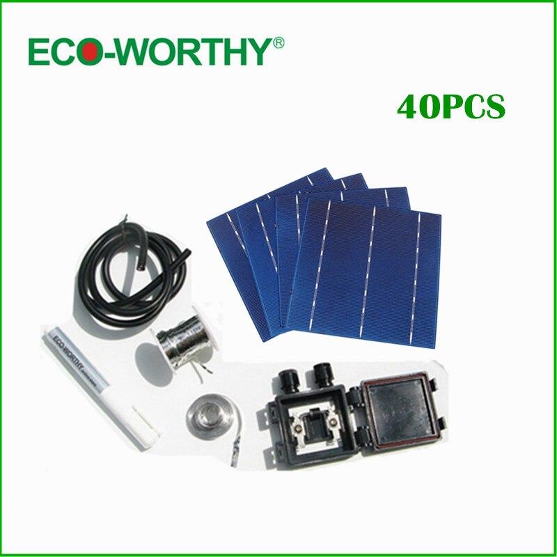 DIY Solar Panel Full KitS 40- 6x6 Polycrystalline Silicon Solar Cell +Tabbing Bus+Flux Pen +J-box+ Wire DIY 150W Solar Panel