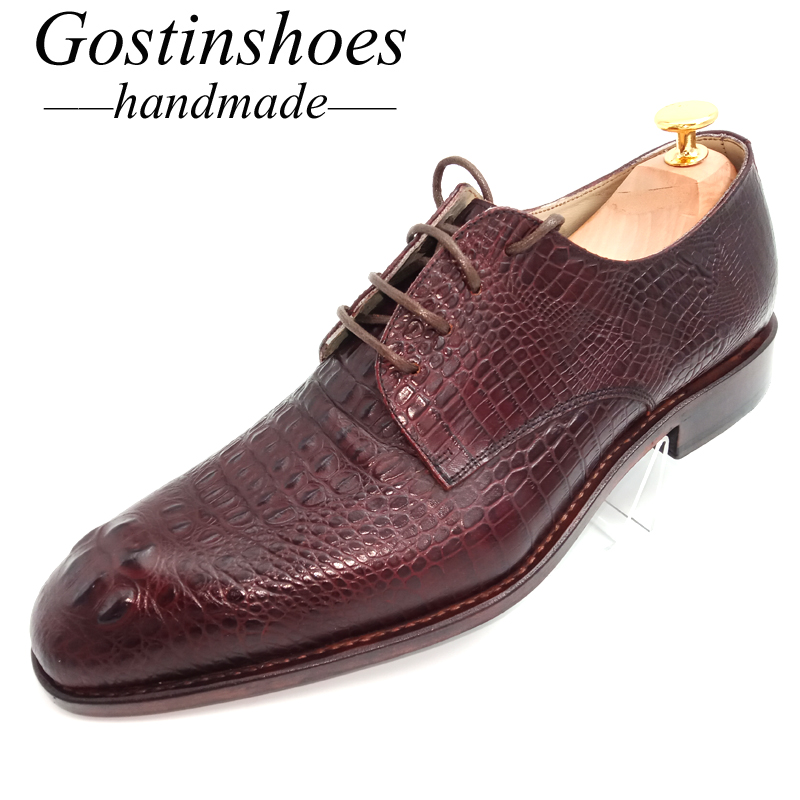 GOSTINSHOES HANDMADE Goodyear Welted Men Derby Shoes Brown Crocodile Print Cow Leather Formal Dress Shoes Lace-Up Pointed GSTN20GOSTINSHOES HANDMADE Goodyear Welted Men Derby Shoes Brown Crocodile Print Cow Leather Formal Dress Shoes Lace-Up Pointed GSTN20