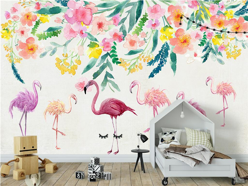Custom Modern Photo Wall Mural Hand Painted Flamingo Flowers Photo Wallpaper Embossed Wall Paper TV Background Wall Mural