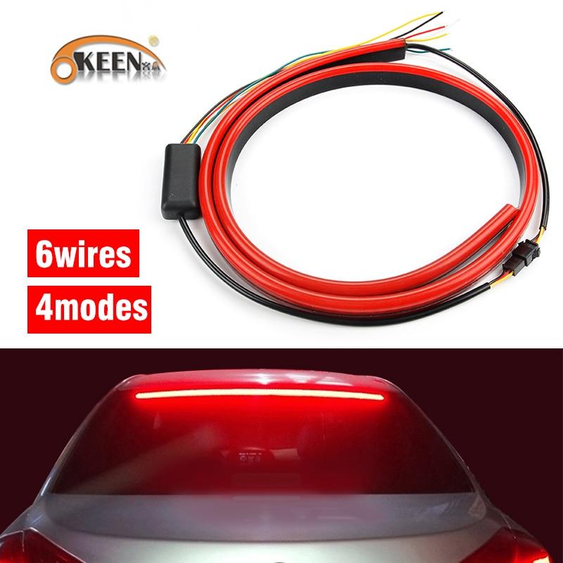 "OKEEN 12 v 100 ס""מ אדום Unverisal רכב שלישי בלם אור גמיש LED גבוהה נוסף להפסיק אור עם איתות ריצה פונקציות"