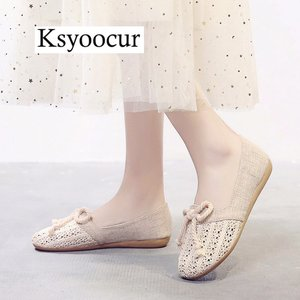 Image 1 - Brand Ksyoocur 2020 New Ladies Flat Shoes Casual Women Shoes Comfortable Round Toe Flat Shoes Spring/summer Women Shoes X03