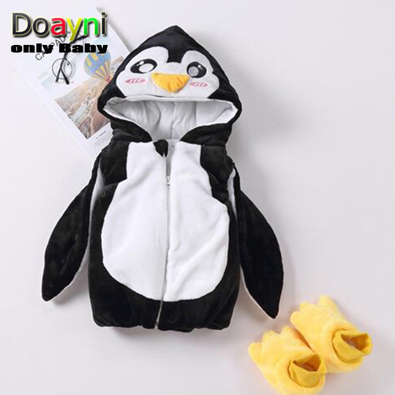 Jackets Winter Hooded-Vest Baby-Girl Unisex Novelty Cotton for Penguin Thick Warm