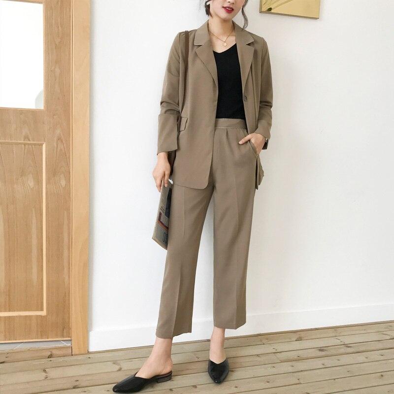 Fashion Sashes Khaki Women Pant Suits Notched-neck Blazer Jacket & High Waist Pants Female 2 Pieces Set OL Workwear Suits 2019