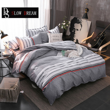 SLOWDREAM Mans Sport Bedding Set Striped Bedding Set Bed Flat Sheet Duvet Cover Set Double Queen Bed Linens Bedspread Decor Bed