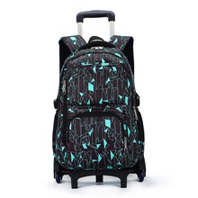 Kids boys girls Trolley Schoolbag Luggage Book Bags Backpack Latest Removable Children School Bags 2/6 Wheels Stairs