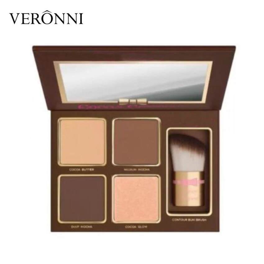 New Eye Cosmetics Cocoa Contour Face Contouring And Highlighting Kit Medium to Deep 4 Color Shades