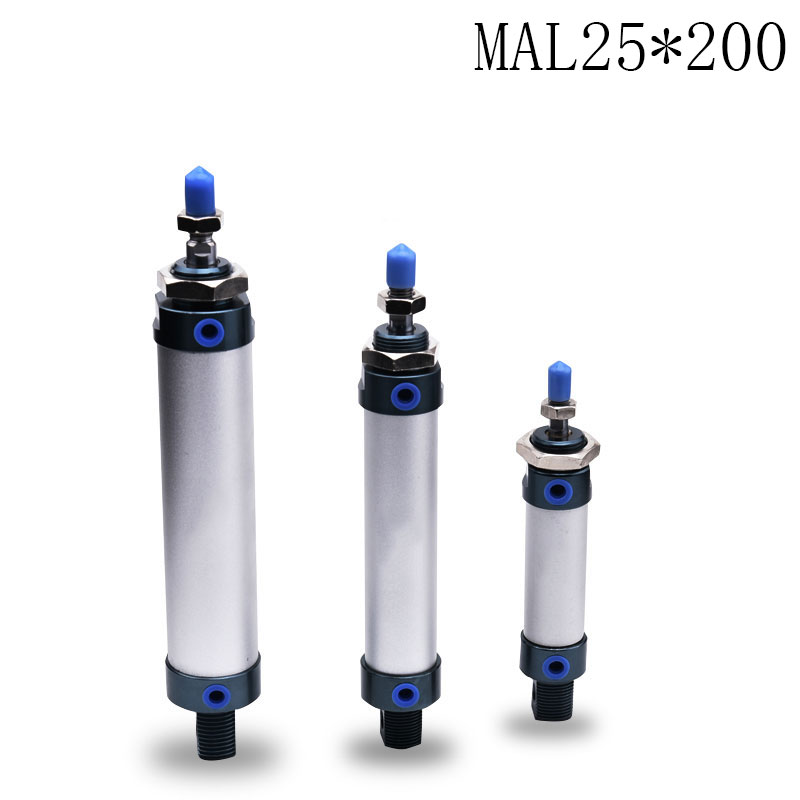1pcs MAL25*200/ 25mm Bore 200mm Stroke Compact Double Acting Pneumatic Air Cylinder 1pcs mal25 125 25mm bore 125mm stroke compact double acting pneumatic air cylinder