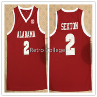 2 Collin Sexton Alabama Crimson Tide Jerseys Red White Stitched Any Name Number College Basketball Jerseys