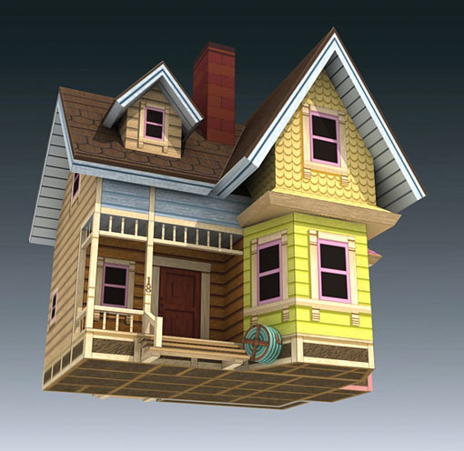 Partly Cloudy 3D paper model DIY manual house ...