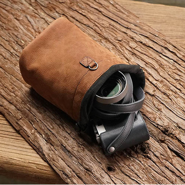 Roadfisher Brown Drawstring Genuine Leather Camera Bag Insert Storage Pocket Pouch For Canon Nikon Sony Fuji