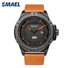 цены Smael Men Watches Luxury Brand Casual Alloy Watch Men Leather Bracelet Watch Waterproof 1313 Analog Watches Quartz Wristwatches