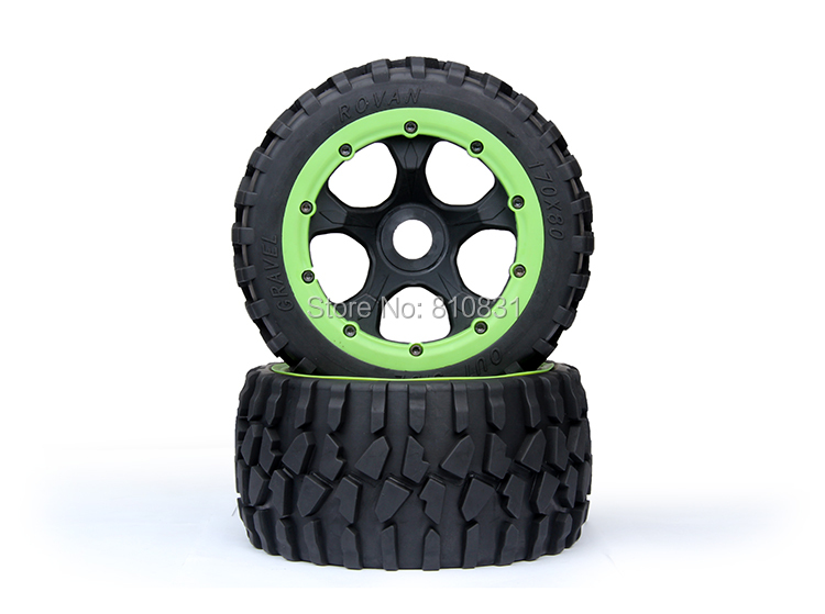 5B  gravel tire wheel assembly Kit fit 1/5 hpi baja 5b Rovan KM front sand buster tyres tire set with nylon wheel 2pcs for baja 5b hpi km rovan