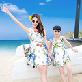Summer Style Mom and Daughter Dress Floral Print Family Matching Outfits Sleeveless Bohemian Summer Dress Family Clothing