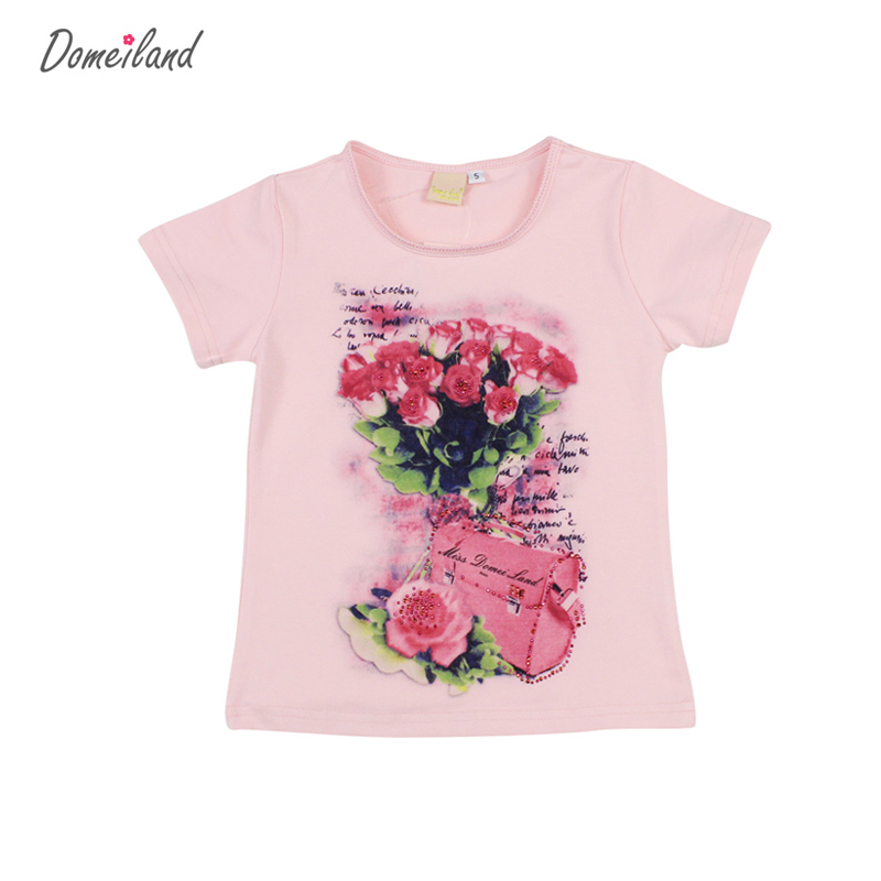 2017 fashion brand domeiland summer children clothing for kids girl short sleeve print floral cotton tee