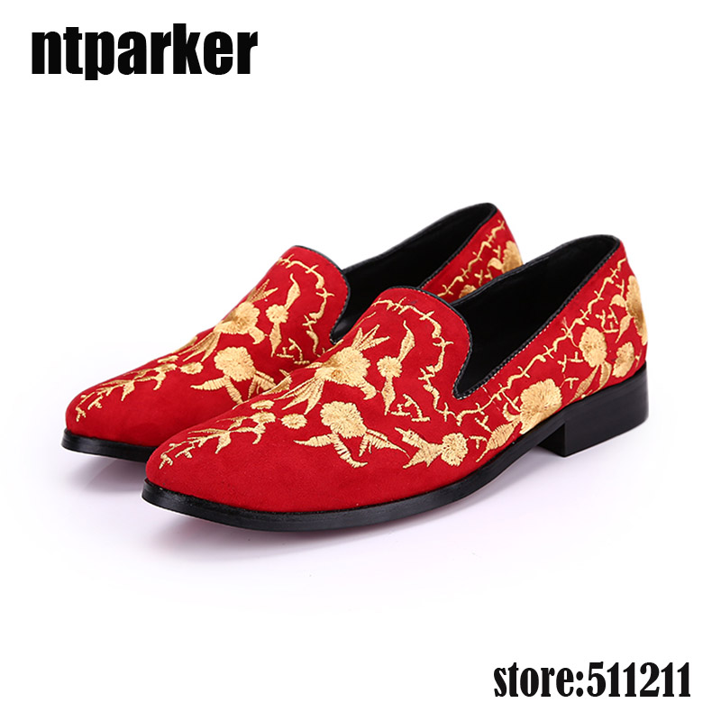 ntparker Summer Men Suede Loafers Party Shoes Europe Style Red Flower Embroidered Leather Casual Men Shoes Slip on, EU38-46! branded men s penny loafes casual men s full grain leather emboss crocodile boat shoes slip on breathable moccasin driving shoes
