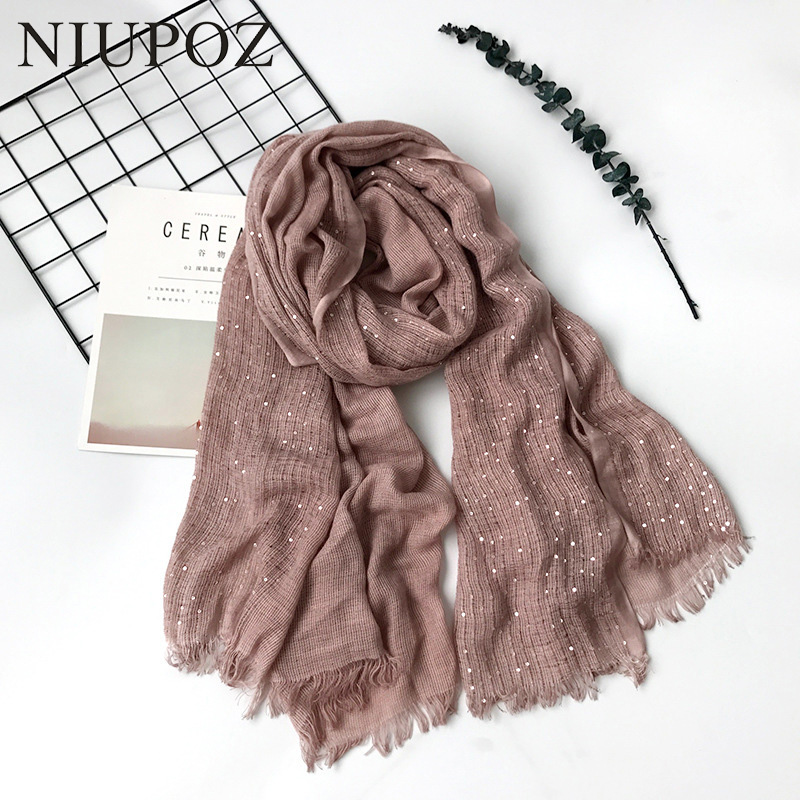 2018 New Design Oversized Cotton Women Scarf With Sequins Long Solid Shawl Muslim Hijab Warm Thick Knitted 100*200cm M266