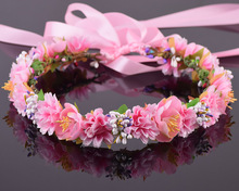 CXADDITIONS Berry Carnations Camellia Flower Bridal Floral Crown Hair Wreath Mint Head Wedding Accessories Headpiece Bridesmaid