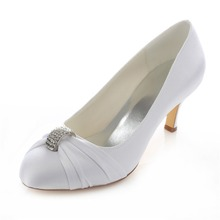 ivory white crystal pleated wedding evening party bridal bridesmaid shoes 2 5inhces mid heels ankle bridal