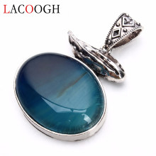 Lacoogh Wholesale Retro Blue Striped Natural Stone Antique 42*61mm Necklaces Pendants for Women Men DIY Crafts Jewelry Findings