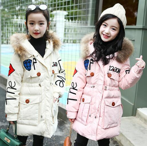 Children Winter Jacket Girl Fashion Thick Cotton Jacket Parka Kids clothes Warm Fur Collar Hooded Coats For Teenage 4-14Y gkfnmt winter jacket women 2017 fur collar hooded parka coat women cotton padded thicken warm long jacket female plus size 5xl